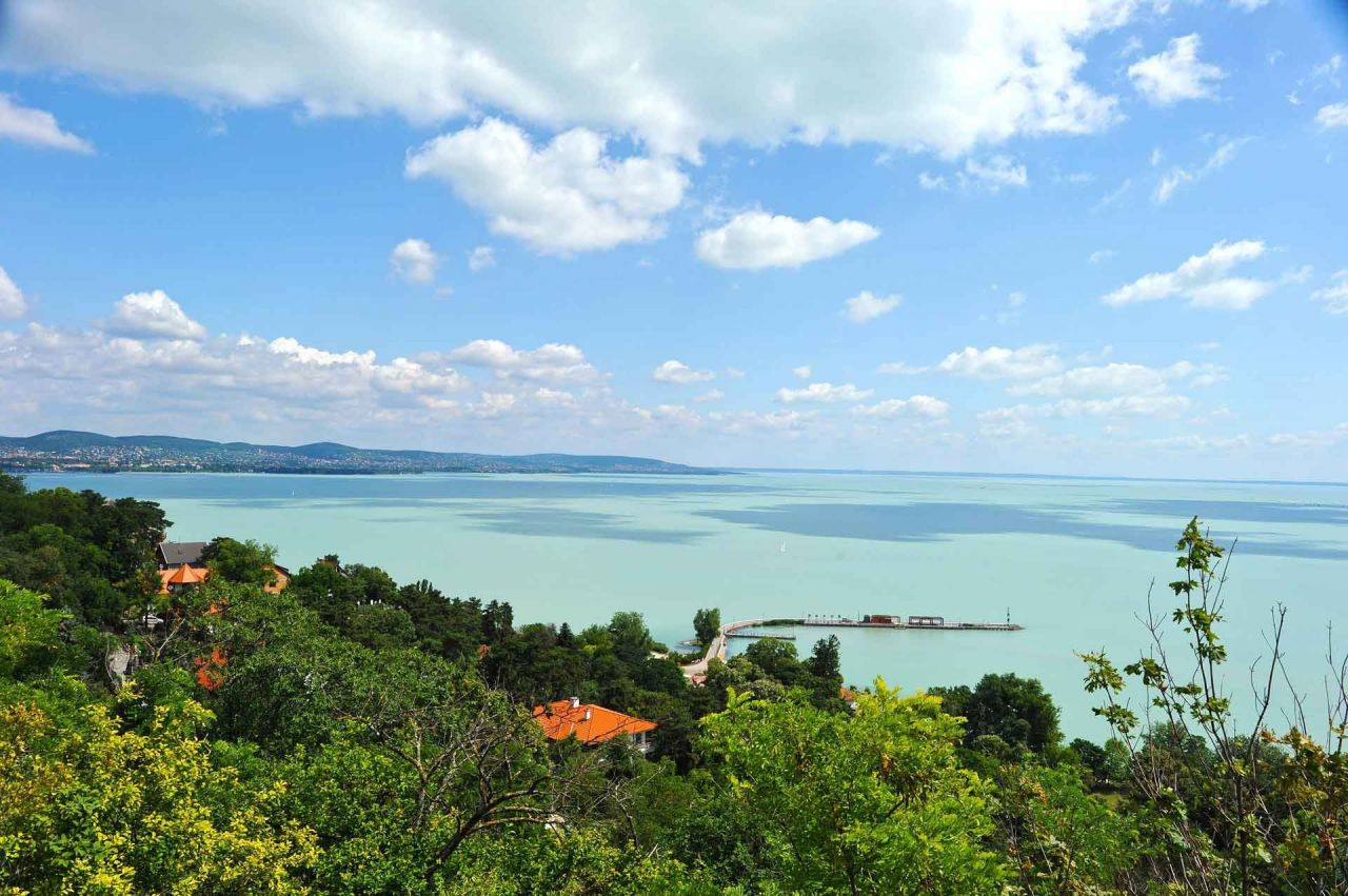 Helicopter Flight over the Lake Balaton